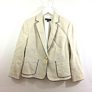 Ann Taylor Linen Blend Piped Beige Blazer Jacket